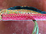 ANTIQUE INDIAN TEXTILE EMBROIDERY HAND FAN
