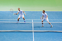 Switserland, Genève, September 19, 2015, Tennis,   Davis Cup, Switserland-Netherlands, Doubles: Thiemo de Bakker/Matwe Middelkoop (NED) (R)<br /> Photo: Tennisimages/Henk Koster
