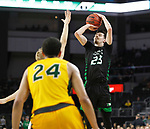 SIOUX FALLS, SD - MARCH 10: Kienan Walter #23 of the North Dakota Fighting Hawks shoots over a North Dakota State Bison defender during the men's championship game at the 2020 Summit League Basketball Tournament in Sioux Falls, SD. (Photo by Richard Carlson/Inertia)