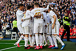 Players of Real Madrid celebrate goal during La Liga match between Real Madrid and Atletico de Madrid at Santiago Bernabeu Stadium in Madrid, Spain. February 01, 2020. (ALTERPHOTOS/A. Perez Meca)