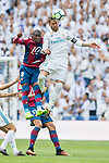 Sergio Ramos (R) of Real Madrid fights for the ball with Jefferson Lerma (L) of Levante UD during the La Liga match between Real Madrid and Levante UD at the Estadio Santiago Bernabeu on 09 September 2017 in Madrid, Spain. Photo by Diego Gonzalez / Power Sport Images