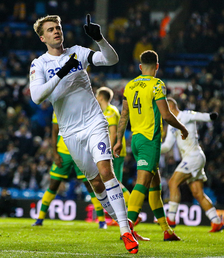 Leeds United's Patrick Bamford celebrates scoring his side's first goal<br /> <br /> Photographer Alex Dodd/CameraSport<br /> <br /> The EFL Sky Bet Championship - Leeds United v Norwich City - Saturday 2nd February 2019 - Elland Road - Leeds<br /> <br /> World Copyright © 2019 CameraSport. All rights reserved. 43 Linden Ave. Countesthorpe. Leicester. England. LE8 5PG - Tel: +44 (0) 116 277 4147 - admin@camerasport.com - www.camerasport.com