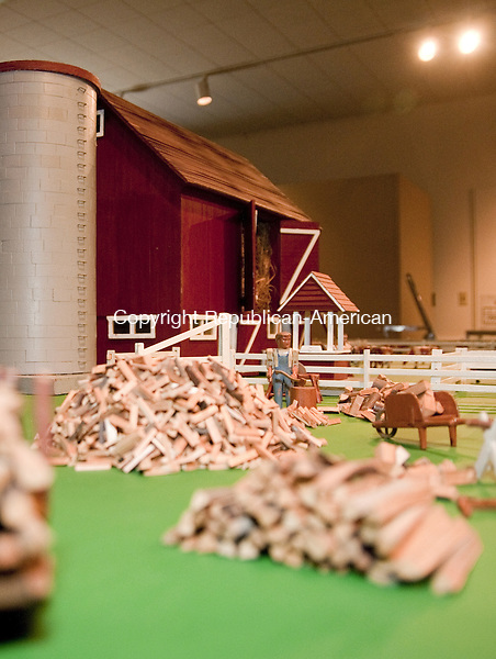 TORRINGTON, CT, 09  JULY 15 - A miniature wood pile at Hobbywood Farm on display starting today at the Torrington Historical Society. Alec Johson/ Republican-American