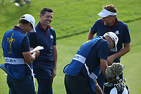 Rory McIlroy (Team Europe) enjoying the craic with Ian Poulter (Team Europe) during Friday's Foursomes, at the Ryder Cup, Le Golf National, Île-de-France, France. 28/09/2018.<br /> Picture David Lloyd / Golffile.ie<br /> <br /> All photo usage must carry mandatory copyright credit (© Golffile | David Lloyd)