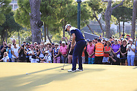 Justin Rose (ENG) misses his putt to win on the 18th green at the end of Sunday's Final Round of the 2018 Turkish Airlines Open hosted by Regnum Carya Golf &amp; Spa Resort, Antalya, Turkey. 4th November 2018.<br /> Picture: Eoin Clarke | Golffile<br /> <br /> <br /> All photos usage must carry mandatory copyright credit (&copy; Golffile | Eoin Clarke)