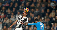 Calcio, Serie A: Juventus Stadium. Torino, Juventus Stadium, 29 ottobre 2016.<br /> Juventus&rsquo; Mario Mandzukic, left, is challenged by Napoli's Elseid Hysaj during the Italian Serie A football match between Juventus and Napoli at Turin's Juventus Stadium, 29 October 2016. Juventus won 2-1.<br /> UPDATE IMAGES PRESS/Isabella Bonotto