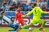 Deportivo de la Coruna's Fabian Schar (l) and Przemyslaw Tyton (r) and Real Sociedad's Juanmi Jimenez during La Liga match. September 10,2017.  *** Local Caption *** © pixathlon<br /> Contact: +49-40-22 63 02 60 , info@pixathlon.de