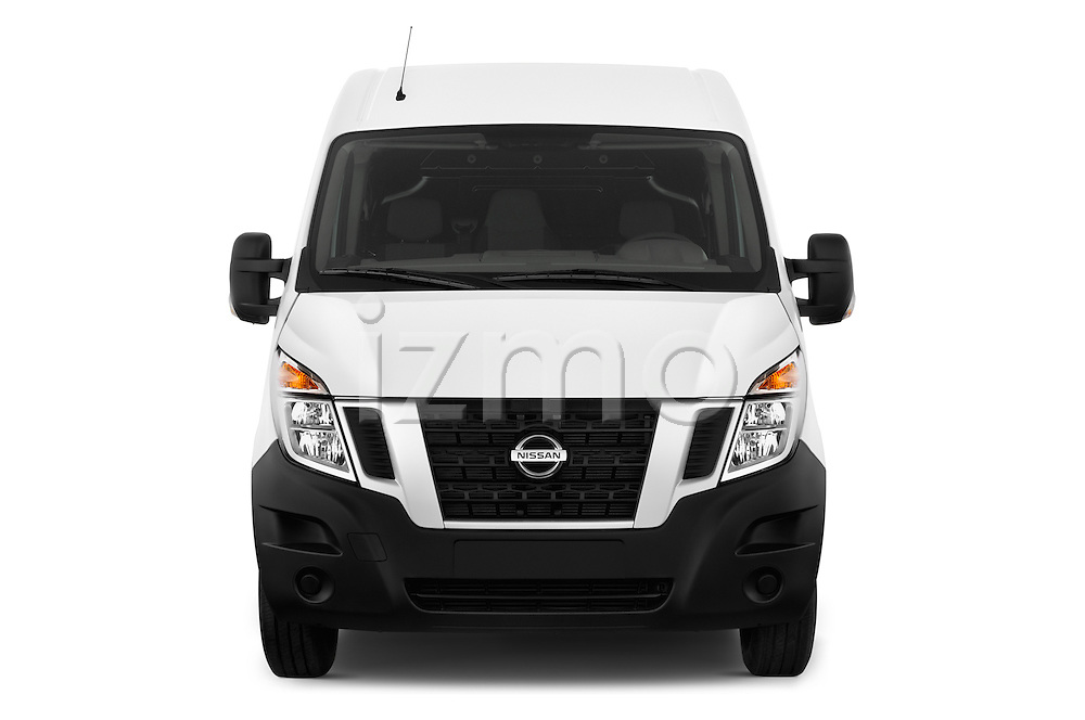Car photography straight front view of a 2016 Nissan NV400 Acenta 4 Door Cargo Van Front View