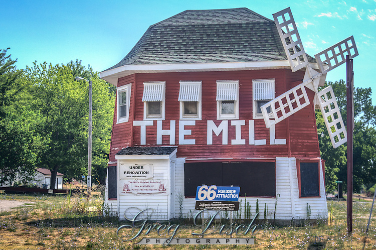 The Mill on Route 66 in Lincoln Illinois first opened in 1929 as the Blue Mill.  The Mill closed in 1996 and efforts are being made to restore the property.