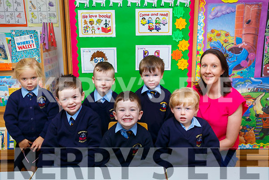 Junior Infants who started at Killury NS Causeway on Friday Rylan wallace,James Donegan and Padraig O'Sullivan. Back l-r: Sophie Conway, Tyler McLerlen,Conor Egan and GTeacher marian Flaherty