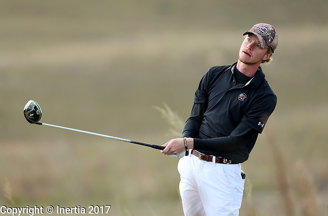 VALENTINE, NE - OCTOBER 3: Keenan Huskey from South Carolina watches his tee shot on the 6th hole during the final round of the South Dakota State Invitational Tuesday at The Prairie Club in Valentine, NE. (Photo by Dave Eggen/Inertia)