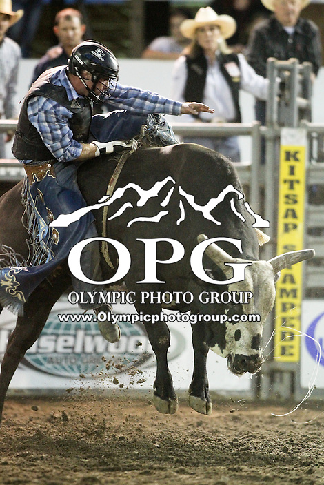 20 Aug 2014:  Colby Reilly was not able to score while competing in the Seminole Hard Rock Extreme Bulls competition at the Kitsap County Stampede in Bremerton, Washington.