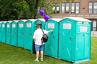 Row of outdoor portable toilets. Grand Old Day Street Fair St Paul Minnesota USA