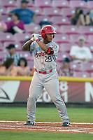 Marcus Greene #29 of the Spokane Indians bats against the Salem-Keizer Volcanoes at Volcanoes Stadium on July 26, 2014 in Keizer, Oregon. Spokane defeated Salem Keizer, 4-1. (Larry Goren/Four Seam Images)