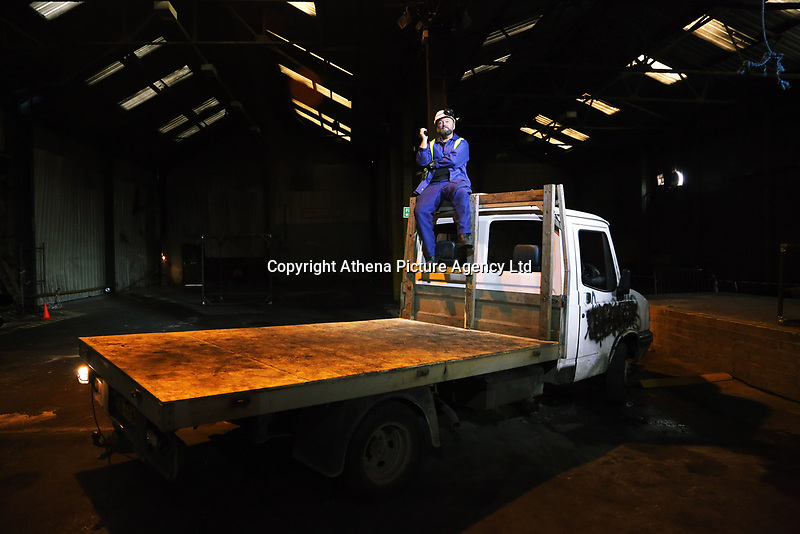 "Pictured: Actor Jason May who plays Rob<br /> Re: Press rehearsal of ""We'Re Still Here"", a play created by Rachel Trezise, Common Wealth and the National Theatre Wales about steelworkers, which will be performed in Byass Works, a disused industrial unit, in Port Talbot, south Wales, UK."