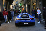 Police car at the end of Strade Bianche 2019 running 184km from Siena to Siena, held over the white gravel roads of Tuscany, Italy. 9th March 2019.<br /> Picture: Eoin Clarke | Cyclefile<br /> <br /> <br /> All photos usage must carry mandatory copyright credit (© Cyclefile | Eoin Clarke)