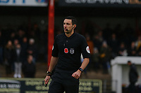 Referee Tom Reeves during Carshalton Athletic vs Boston United, Emirates FA Cup Football at the War Memorial Sports Ground on 9th November 2019