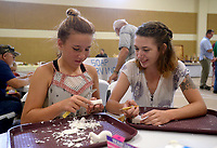 NWA Democrat-Gazette/BEN GOFF @NWABENGOFF<br /> Elizabeth Cook (left) and sister Sarah Cook of Harrison learn how to carve using butter knives and bars of soap Saturday, July 15, 2017, during the Bella Vista Woodcarvers Club's Artistry in Wood Show at Bella Vista Assembly of God church. Members of the club exhibited and sold their woodwork at the show, which also included door prizes, demonstrations and a people's choice award.