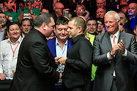 Barry Hawkins is presented the runners up medal after the Dafabet Masters FINAL between Barry Hawkins and Ronnie O'Sullivan at Alexandra Palace, London, England on 17 January 2016. Photo by Liam Smith / PRiME Media Images