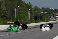 May 11, 2013; Commerce, GA, USA: NHRA pro stock driver Mike Edwards (left) alongside Shane Gray during the Southern Nationals at Atlanta Dragway. Mandatory Credit: Mark J. Rebilas-