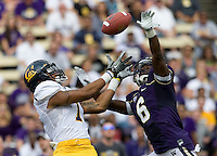 Marvin Jones of California tries to catch a ball during the game against Washington at Seattle, Washington on September 24th, 2011.  Washington defeated California 31-23.