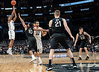WASHINGTON, DC - JANUARY 28: Terrell Allen #12 of Georgetown sails a shot over Bryce Nze #10 of Butler during a game between Butler and Georgetown at Capital One Arena on January 28, 2020 in Washington, DC.