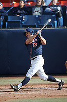 Timmy Richards #13 of the Cal State Fullerton Titans bats against the Stanford Cardinal at Goodwin Field on February 19, 2017 in Fullerton, California. Stanford defeated Cal State Fullerton, 8-7. (Larry Goren/Four Seam Images)