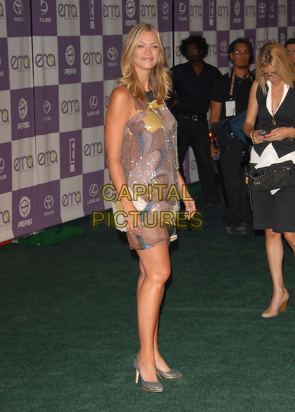 NATASHA HENSTRIDGE.The 17th Annual Environmental Media Association Awards held at The Ebell Club of L.A. in Los Angeles, California, USA..October 24th, 2007.full length sleeveless grey gray shoes purple pink brown pattern dress sequins sequined .CAP/DVS.©Debbie VanStory/Capital Pictures