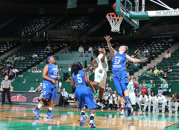 Denton, TX - JANUARY 24: BreAnna Dawkins #22 of the University of North Texas Mean Green shoot against Laken Leonard #52 of the Middle Tennessee Lady Raiders at the UNT Coliseum in Denton on January 24, 2013 in Denton, Texas. (Photo by Rick Yeatts)