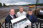 A 30 MILLION conference and.concert facility, planned for Fels.Point in Tralee, could rival the INEC.in Killarney and attract major international.acts to the town, according.to project developers.Jim Finucane (Agent), Gerry Riordan (Town.Engineer) and Ciaran Lynham (Architect).
