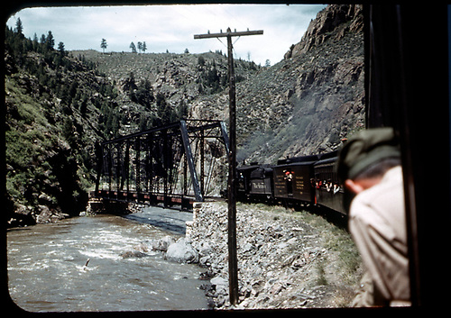 D&amp;RGW #361 C-21 approaching Bridge 316A in Black Canyon - excursion train.<br /> D&amp;RGW  Black Canyon, CO  Taken by Maxwell, John W. - 5/30/1949