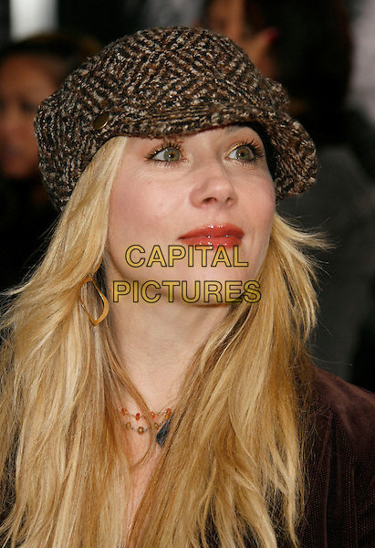 "CHRISTINA APPLEGATE.""The Number 23"" Los Angeles Premiere held at the Orpheum Theater, Los Angeles, California, USA..February 13th, 2007.headshot portrait grey gray hat.CAP/ADM/RE.©Russ Elliot/AdMedia/Capital Pictures *** Local Caption *** .."