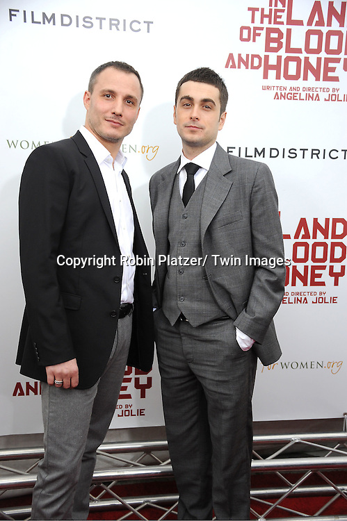 """actors Milos Timotijevic and  Boris Ler attend  The New York Premiere of Angelina Jolie's movie ."""" In the Land of Blood and Honey"""" on December 5, 2011 at The School of Visual Arts Theatre in New York City."""