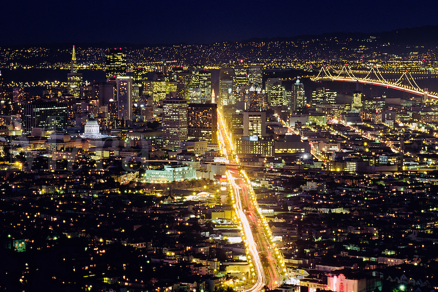 San Francisco, California; Market Street And City Lights At Night; View From Twin Peak