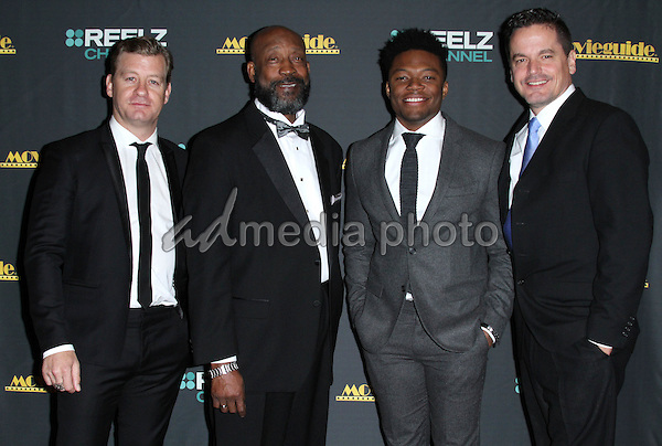 05 February 2016 - Los Angeles, California - Nic Bishop, Tony Nathan, Caleb Castille and Kevin Downes. 24th Annual MovieGuide Awards 2016 - Press Room held at the Universal Hilton Hotel. Photo Credit: AdMedia