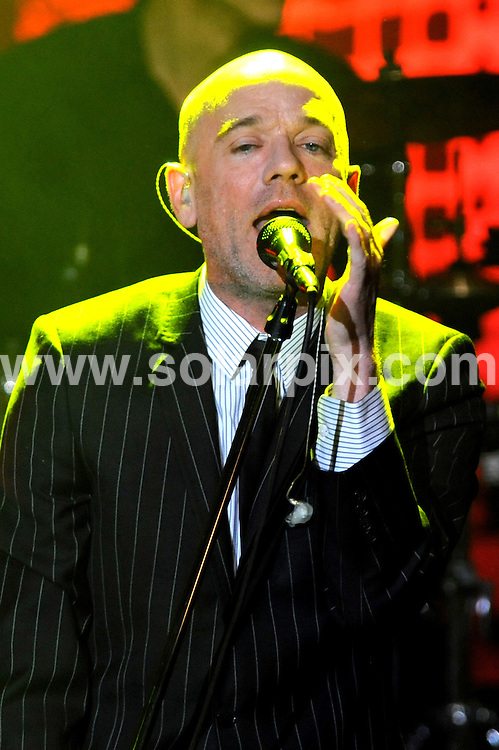 **ALL ROUND PICTURES FROM SOLARPIX.COM**.**WORLDWIDE SYNDICATION RIGHTS EXCLUDING UK & ITALY - NO PUBLICATION IN UK OR ITALY**.American rock band R.E.M. playing live in concert at Rolling Stone in Milan, Italy. 18 March 2008..This pic: R.E.M. Michael Stipe, Peter Buck and Mike Mills..JOB REF: 8928 MXN       DATE: 18_03_2008.**MUST CREDIT SOLARPIX.COM OR DOUBLE FEE WILL BE CHARGED**.**ONLINE USAGE FEE GBP 50.00 PER PICTURE - NOTIFICATION OF USAGE TO PHOTO @ SOLARPIX.COM**.**CALL SOLARPIX : +34 952 811 768 or LOW RATE FROM UK 0844 617 7637**