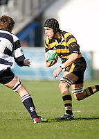 R.B.A.I. flanker Jamie Lusk attacks during the Northern Bank Schools Cup Final at Ravenhill. Result Wallace 0pts R.B.A.I. 15pts.