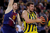 8th December 2017, Palau Blaugrana, Barcelona, Spain; Turkish Airlines Euroleague Basketball, FC Barcelona Lassa versus Fenerbahce Dogus Istanbul; Marko Guduric of Fenerbahce Dogus istanbul fights for the ball against Thomas Heurtel of FC Barcelona