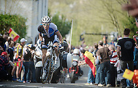 77th Flèche Wallonne 2013..Laurens Ten Dam (NLD) charging up the Mur de Huy