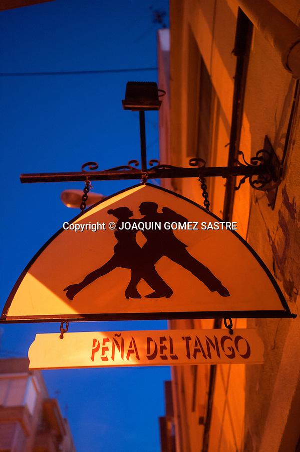 Poster on the exterior facade of the local La Pe&ntilde;a Friends of Tango in Alicante.<br />  PHOTO &copy; JOAQUIN GOMEZ  SASTRE