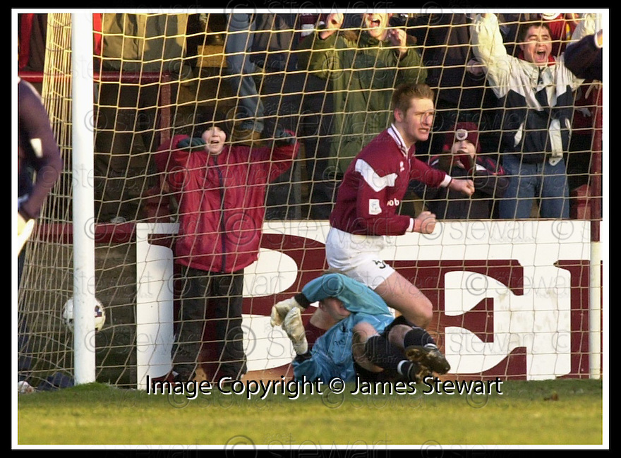 19/01/2002                 Copyright Pic : James Stewart .Ref :     .File Name : stewart-arbroath v falkirk 10.ARBROATH'S INNES RITCHIE KNOCKS THE BALL OVER THE LINE BUT HIS GOAL WAS DISALLOWED AFTER AST.REFEREE COLIN BROWN SAID HE SCORED WITH HIS HAND....James Stewart Photo Agency, Stewart House, Stewart Road, Falkirk. FK2 7AS      Vat Reg No. 607 6932 25.Office     : +44 (0)1324 630007     .Mobile  : + 44 (0)7721 416997.Fax         :  +44 (0)1324 630007.E-mail  :  jim@jspa.co.uk.If you require further information then contact Jim Stewart on any of the numbers above.........