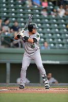 Left fielder Diego Rincones (16) of the Augusta GreenJackets bats in a game against the Greenville Drive on Wednesday, April 10, 2019, at Fluor Field at the West End in Greenville, South Carolina. Augusta won, 9-8. (Tom Priddy/Four Seam Images)