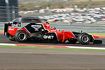 Charles Pic (25) driver of the Marussia F1 Team Cosworth in action during the Formula 1 United States Grand Prix practice session at the Circuit of the Americas race track in Austin,Texas. The Formula 1 United States Grand Prix will take place on 18 November 2012....