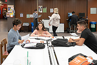 From left: Isaac Cordova '22, Aly Olkein '22, Phoebe Patinkin '22, Anthony Solis '22<br /> Occidental College students study for finals and write papers during finals week in the Academic Commons/Mary Norton Clapp Library, Monday afternoon, Dec. 10, 2018.<br /> (Photo by Marc Campos, Occidental College Photographer)