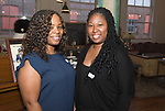WATERTOWN, CT-042518JS23- Tina Medley of Stratford and Shameka Dennis of Waterbury,  at the Save Girls on F.Y.E.R. organization's fifth anniversary celebration held at Old Platform 6 in Watertown. <br /> Jim Shannon Republican American