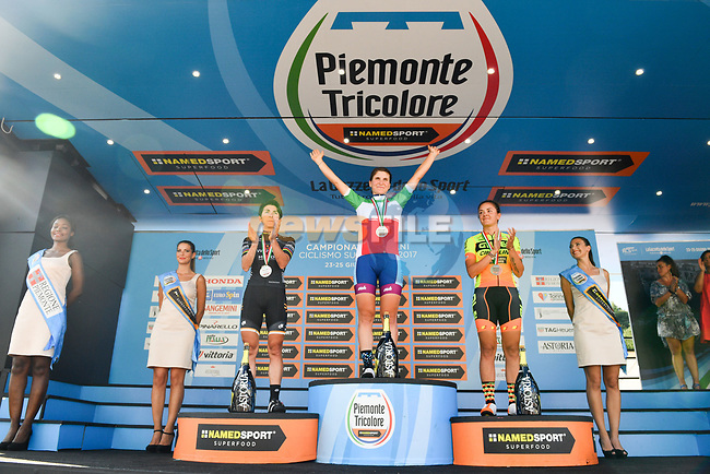 The Italian National Champion 2017 Elite Women Elisa Longo Borghini, running from Asti to Ivrea, Piemonte, Italy. 25/06/2017.<br /> Picture: Foto LaPresse/Massimo Paolone | Cyclefile<br /> <br /> <br /> All photos usage must carry mandatory copyright credit (&copy; Cyclefile | LaPresse/Massimo Paolone)