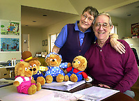 "Jan and Stan Berenstain, creators of the ""Berenstain Bears"" childrens' books, are shown in their home studio, with stuffed versions of, from left, Sister Bear, Pappa Bear, Momma Bear, and Brother Bear, Tuesday, March 27, 2001, in New Hope, Pa."