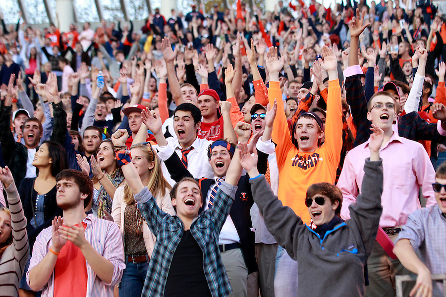 Oct. 22, 2011 - Charlottesville, Virginia - USA; Virginia Cavaliers fans cheer during an NCAA football game against North Carolina State Wolfpack at the Scott Stadium. NC State defeated Virginia 28-14. (Credit Image: © Andrew Shurtleff/