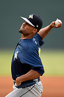 Starting pitcher Merandy Gonzalez (38) of the Columbia Fireflies delivers a pitch in a game against the Greenville Drive on Wednesday, June 14, 2017, at Fluor Field at the West End in Greenville, South Carolina. Columbia won, 6-2, in 11 innings. (Tom Priddy/Four Seam Images)