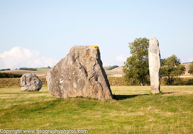Standing stones in the Neolithic henge stone circle Avebury, Wiltshire, England